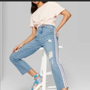 Wild fable Pink Striped High Rise Kick Flare Jeans